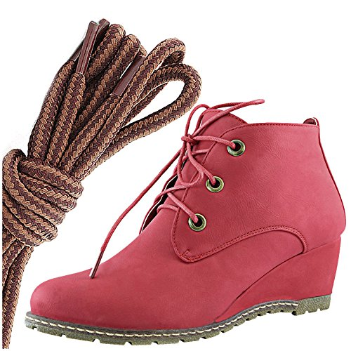 Dailyshoes Femmes Mode Lace Up Bout Rond Cheville Haute Oxford Wedge Bottine, Brun Clair Tan Rouge Pu
