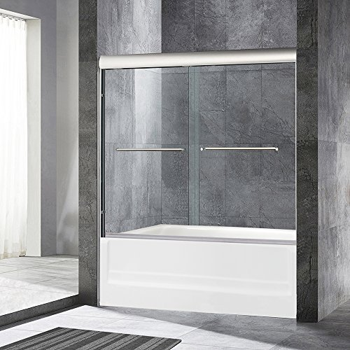 Find Cheap WoodBridge Frameless Sliding Bathtub Door, 56 to 60 by 62, Brushed Nickel Finish, 2 La...