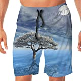 Haixia Man Printing Swimming Trunks A Lonely Tree Growing in The Water