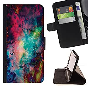 For Samsung Galaxy Core Prime Space Abstract Painting Style PU Leather Case Wallet Flip Stand Flap Closure Cover