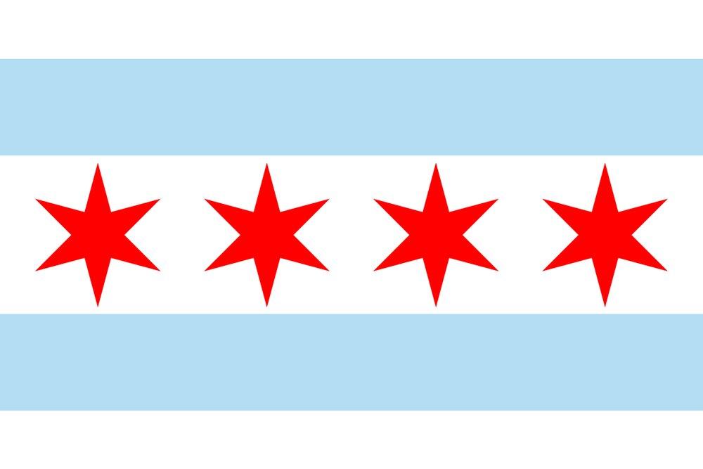Chicago, Illinois - Flag (Version #2) (9x12 Art Print, Wall Decor Travel Poster)