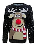 Fashion Essentials-womens Unisex Rudolph Print 3d Nose Pom Pom Christmas Jumper