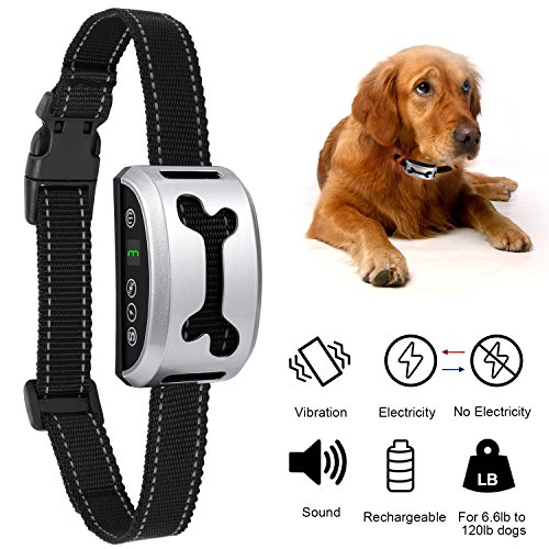 Dog Bark Collar, Adoric Life Adjustable Rechargeable Humane Rainproof Training Collar with 7 Sensitivity & 3 Modes, Beep Vibration & Safe Shock for Small Medium Large Different Sizes Dogs (Silver) Small Medium Size Dog