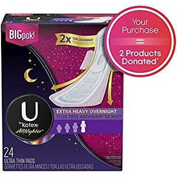 U by Kotex AllNighter Ultra Thin Overnight Pads with Wings, Extra Heavy Flow, Fragrance-Free, 3 Packs of 24 (72 Total)