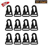 """HoveBeaty 1"""" HK Clips Snap Hooks for Rifle Gun Sling Paracord Outdoors Backpack Strap Spring(12 Counts) (Black, 1"""")"""