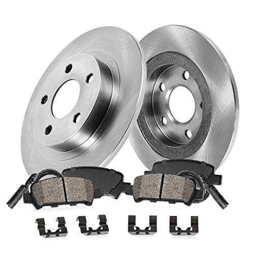 REAR 290 mm Premium OE 5 Lug [2] Brake Disc Rotors + [4] Ceramic Brake Pads + Sensors + Hardware