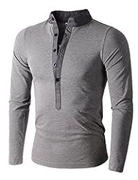 Mens Long Sleeve Slim Fit Henley Shirts
