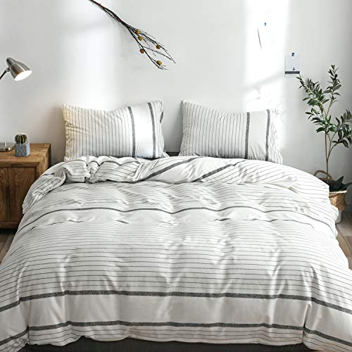 (MooMee Striped Duvet Cover Set 100% Cotton Percale 200-thread 3 PCs Bedding Set(1 Comforter Cover + 2 Pillow Shams) Soft Smooth Crisp White&Black Stripe Queen)