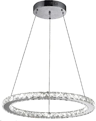 Flashing God K9 Really Crystal Dimmable LED Lighting Rings Chandelier Ceiling Lamp Fixtures Modern Pendant Light, 3000-6500 Kelvin.D7.8 .