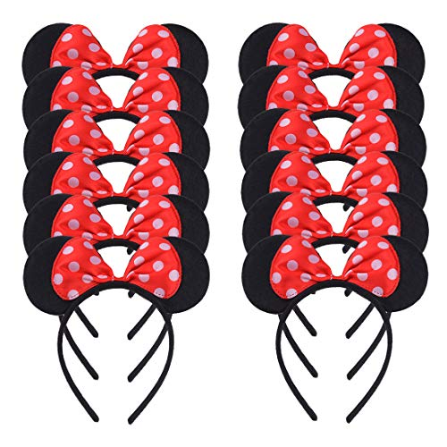 12 Pcs Mickey Minnie Mouse Ears Headbands White Polka Dots Red Bow Birthday Dancing Party...