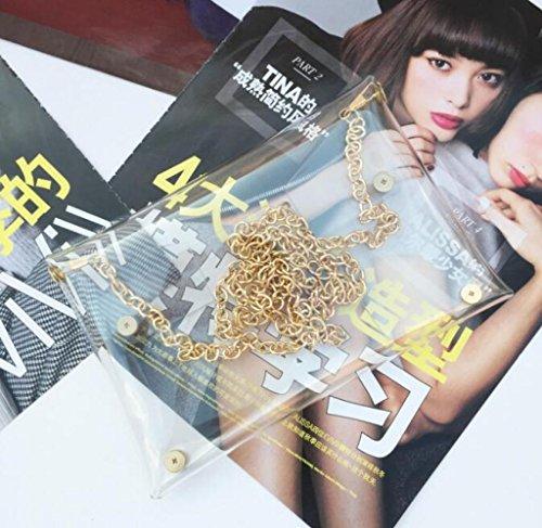 Cross PVC Transparent FEHyNNDonce Handbag for with Mini Chain Body Women Girls Maelys Clear Metal Shoulder Bag YWFBA