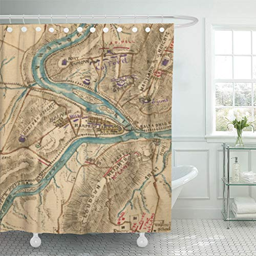 Semtomn Shower Curtain West Vintage Harpers Ferry Civil Map Virginia Old Historical 66