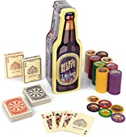 Beers & Bluffs Poker Chip Set - 2 Decks Craft Brew Themed Playing Cards and 200 Poker Chips in Beer Bottle