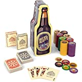 Beers & Bluffs Poker Chip Set - 2 Decks Craft Brew Themed Playing Cards and 200 Poker Chips in Beer Bottle Gift Tin