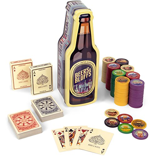 Beers & Bluffs Poker Chip Set - 2 Decks Craft Brew Themed Playing Cards and 200 Poker Chips in Beer Bottle Gift Tin by Brybelly