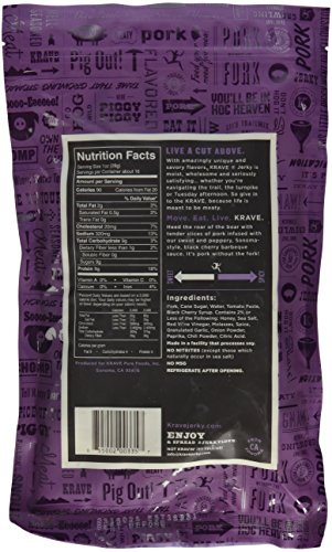 Krave Black Cherry BBQ Pork Jerky (VALUE 2-pack of LARGE 16-Ounce Bags)""