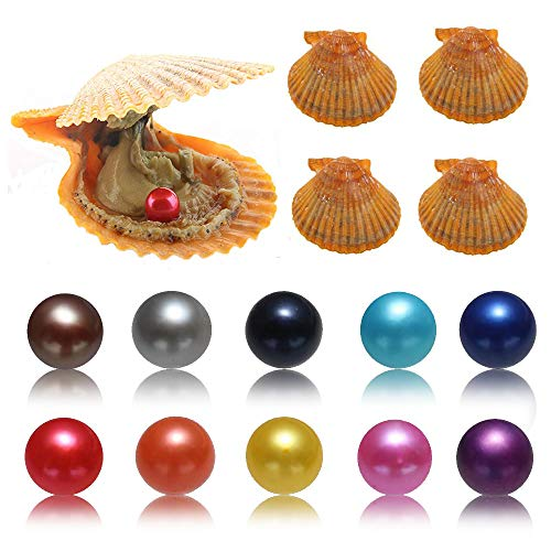 Akoya Saltwater Oysters with Pearls Inside, 10PC Cultured Love Wish Round Red Pearl Oyster with Different Color (7-8mm)