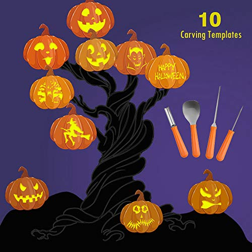 Halloween Pumpkin Carving Kit, BIG HOUSE Professional Jack-O-Lanterns Stainless Steel Carving Tools Set with 10Pcs Carving Templates, Scraper, Saw, Drill and Etching(4 Pieces, Yellow) by BIG HOUSE (Image #3)