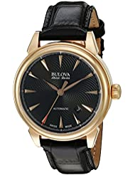 Bulova Mens Gemini Swiss Automatic Stainless Steel and Black Leather Casual Watch (Model: 64B123)
