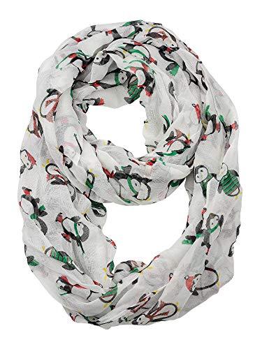 D&Y Christmas Theme Sheer Loop Infinity Scarf, Santa Hat Penguin