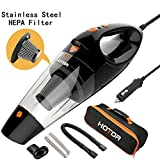 HOTOR Corded Car Vacuum, DC 12V Car Vacuum Cleaner High Power Its Size, Handheld Portable Vacuum Cleaner Car – Black & Orange
