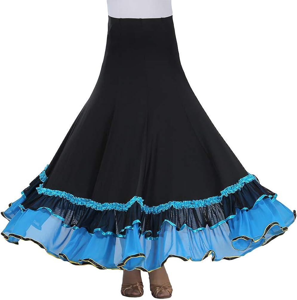 Tookang Falda Larga de Danza para Mujer Traje de Baile Flamenco Sevillanas Tango Clásica Skirts Maxi Falda Plisada Casual