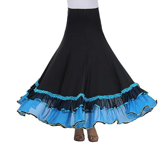 Tookang Falda Larga de Danza para Niñas Traje de Baile Flamenco ...