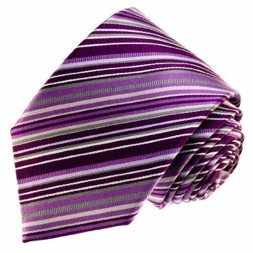 LORENZO CANA - Luxury Italian 100% Silk Tie Purple Silver Violet Striped - 77111
