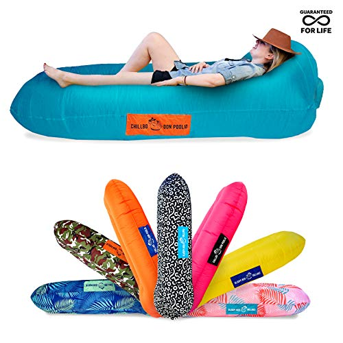 (Chillbo Don POOLIO Pool Floats for Adults - Cool Patterns, Inflatable Sofa & Kids Hammock - Best Camping Gear for River Floats Hammock Chair & Raft for Beach (Cyan))