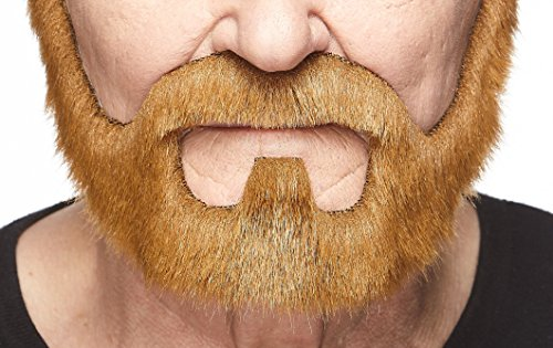 Mustaches Self Adhesive, Novelty, On Bail Fake Beard, False Facial Hair, Costume Accessory for Adults, Ginger Color -