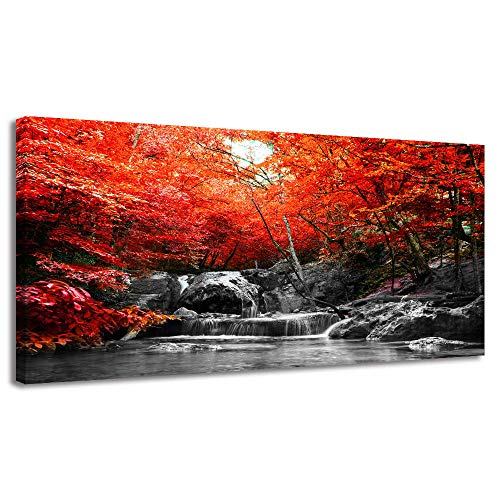 BYXART Large Landscape Canvas Wall Art - Beautiful Red Forest Trees with Lake - Modern Wall Decorations for Living Room Bedroom Home Decor Stretched and Framed Ready to Hang 20x40inx1
