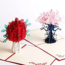 Paper Spiritz Rose And Flower 3D Mothers Day Pop up Card for Her Him Creative Handmade Birthday Greeting Card Laser Cut with Envelope Best Wishes Anniversary Gift Postcard (Pack of 2)