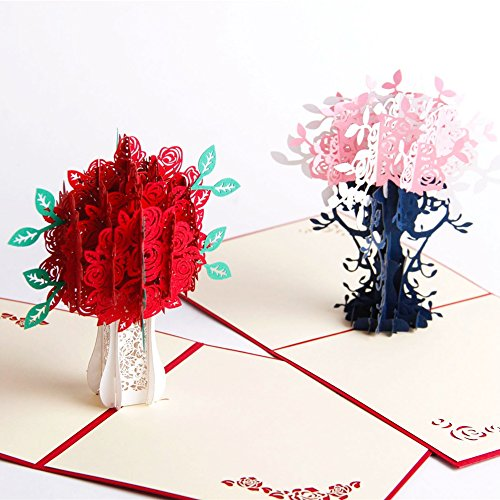 Paper Spiritz Rose And Flower 3D Pop up Card for Her Him Creative Handmade Birthday Greeting Card Laser Cut with Envelope Best Wishes Anniversary Gift Postcard (Pack of 2)