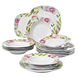 Cheap VEWEET 18-Piece Ceramic Tableware Dinner Plate Set Service for 6 Stoneware Floral Pattern Plate Sets Dinnerware Set, Salad Plate, Soup Plate Dish Set (ASHLEY Series)