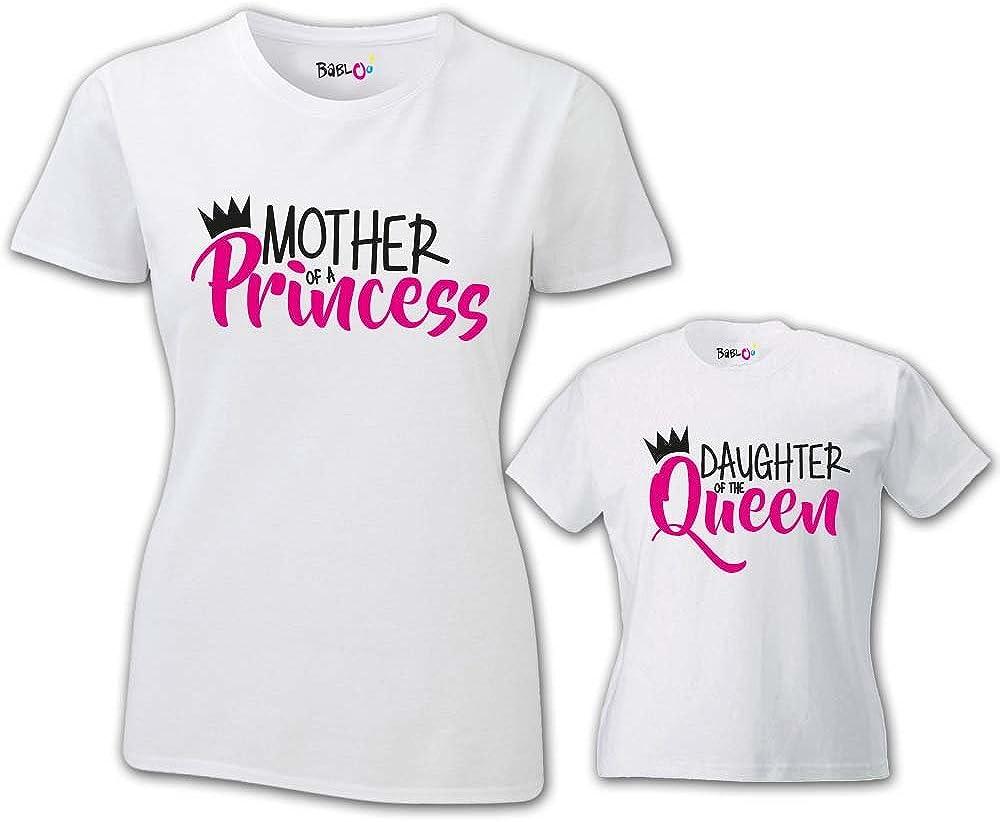 Babloo Coppia di T-Shirt Magliette Mamma E Figlio//Figlia Idea Regalo Festa della Mamma Son//Daughter of A Queen