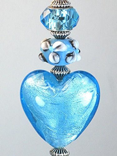 Frosted Turquoise Heart Glass Ceiling Fan Pull