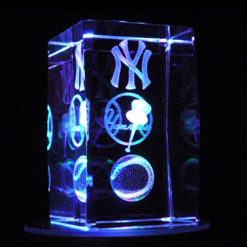 Laser Crystal Lighthouse (3 Inch Height - Yankees 3D Laser Etched Crystal + Display Light Base)