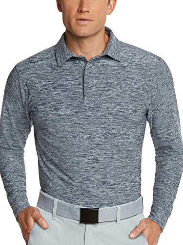 Men's Dry Fit Long Sleeve Polo Golf Shirt, Moisture Wicking and UV Protection Blue ()