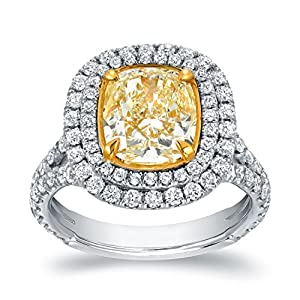 18k Two Tone Gold Cushion Double Halo Engagement Ring ( 4 cttw, Light Yellow, VS2-SI1) Size 6