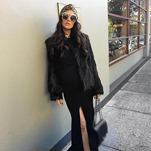Veste Paragraphe de Automne de Fourrure HCFKJ de Parka Femmes 2017 Manteau Noir de Unie Sexy Fourrure Nouvelles Moderne Faux Hiver Courte Couleur Manteau qx4ZUwx