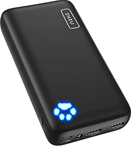 INIU Power Bank, Ultra-high 20000mAh Capacity Portable Charger with Type C & Micro USB Inputs, Dual 3A High-speed Outputs Battery Pack, Compatible with iPhone 11 Xs X 8 Samsung Galaxy S10 Note 10 iPad
