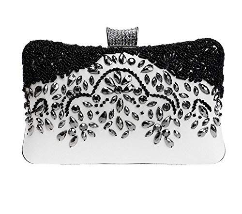 Rhinestone Prom Handmade Envelope Wedding Clutch Women Evening Black Beaded Bag For Party xawvAIH