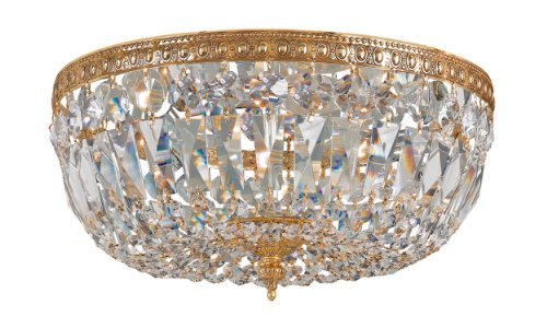 712-OB-CL-MWP Richmond 3LT Flush Mount, Olde Brass Finish with Clear Hand Cut Crystal by Crystorama