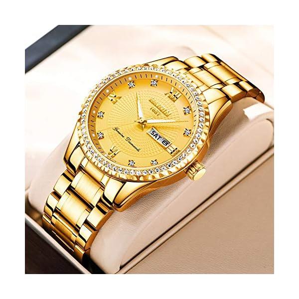 HAIQIN Hommes Classique Diamant Or Montres pour Hommes en Acier Inoxydable Robe Étanche Montre-Bracelet…