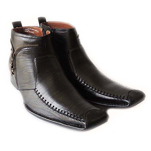 NEWFERRO ALDO MENS FASHION HIGH ANKLE BOOTS LEATHER LINED ZIPPER SLIP ON DRESS SHOES M606318 /BLACK KPyfBeUjv