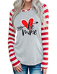 Be Mine Valentine's Day T Shirts Womens Cute Heart Arrow Stripe Long Sleeve Casual Baseball Tees Tops