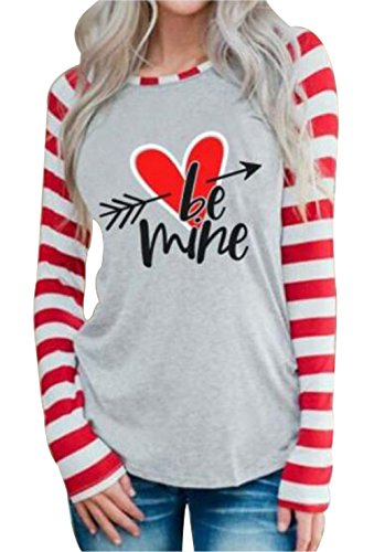 Be Mine Heart Arrow Baseball T-Shirt Valentine's Day Women Stripe Long Sleeve Tops Size US M/Tag L (Grey)