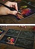 Lago Scratch Coloring Postcard Fireworks / Set of 4 / 1 Scratch Stylus