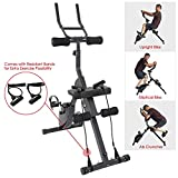 Xspec 3-in-1 Exercise Bike with Ab cruncher, Elliptical Bike and Upright Bike Features, Black, Cardio Workout Indoor Cycling with Resistant Bands