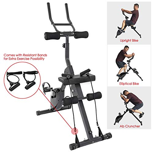 Xspec 3-in-1 Upright Cardio Workout Indoor Exercise Bike with Ab Cruncher and Resistant Bands, Black